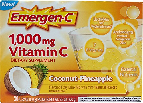 Emergen-C 1000 mg Vitamin C, Coconut Pineapple 30 ea Pack of 4 by Emergen-C