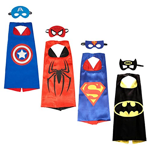 NAGNACA Comics Cartoon Hero Costumes for Kids - 4 Capes and Masks