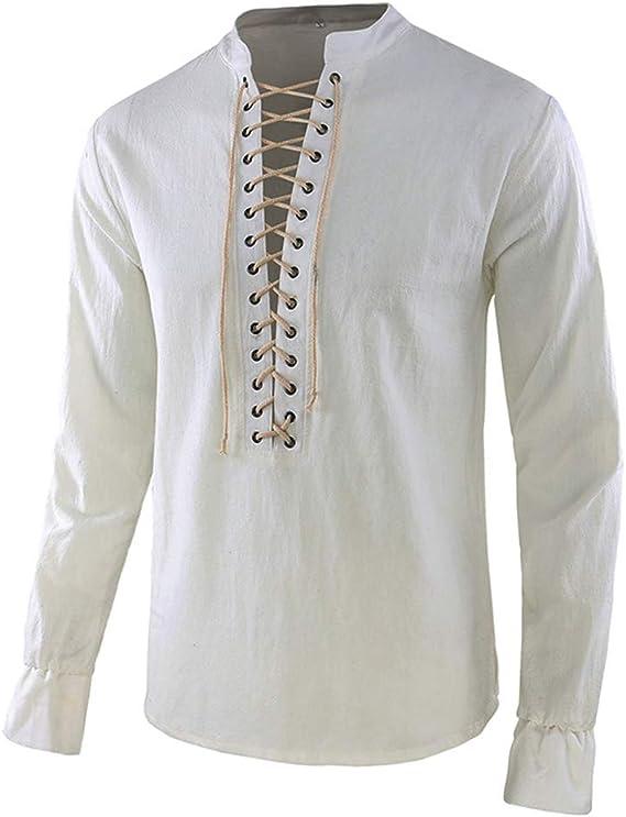 Shujin Camisa de Estilo Medieval para Hombre, Cordones, Estilo gótico, Victoriano, Manga Larga, para Halloween: Amazon.es: Ropa y accesorios