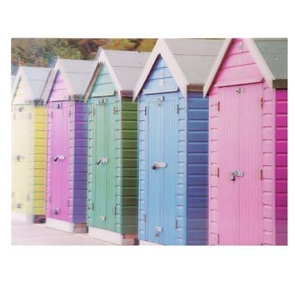Colorido diseño de casetas de playa 3D Tarjeta de decorativo para fotografías con varios bolsillos para