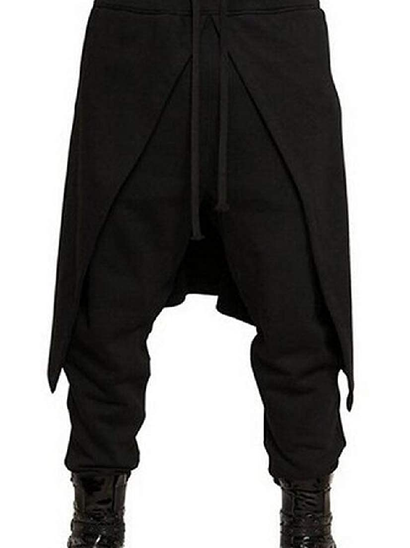 CRYYU Men Solid Color Baggy Casual Hipster Elastic Waist Pants Trousers