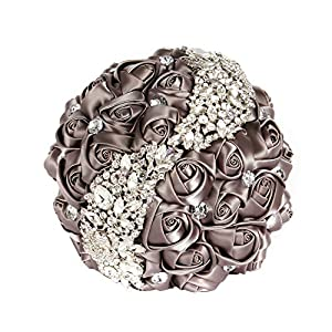 PartsExtra Handmade Romantic Wedding Bouquet of Rose Flowers with S Type Diamond Pearl Rhinestone Brooch Bride Holding Bouquet 42