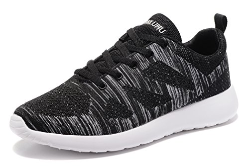 Newluhu Men's Running Shoes Lightweight Outdoor Casual Athletic Knit Sports Sneakers (9.5US/43EU, Black-040) For Sale