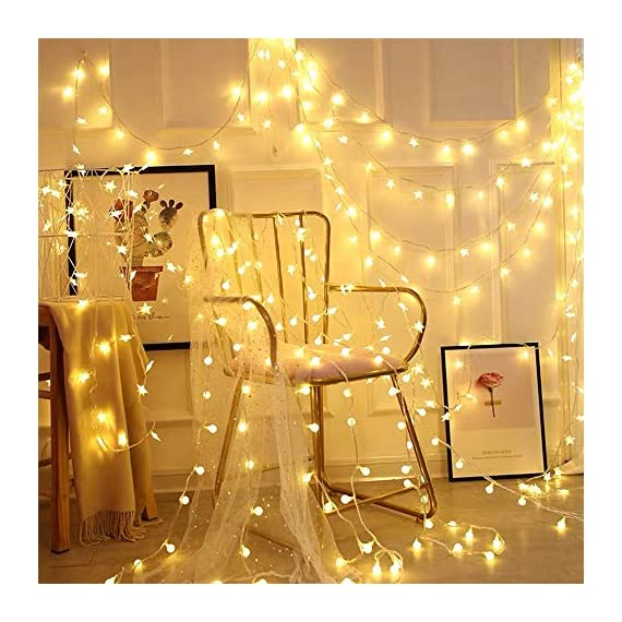 LED Globe String Lights twinkle lights ,Plug in Fairy Lights,49Ft 100 LED String Light, Waterproof, Perfect for Indoor Outdoor Wedding Birthday Party with 30V Low VoltageTransformer,Extendable - √ Good Quality& Safety-The length of this globe LED light chain is 15m long(10m String Lights, 5m Lead Wire), the distance between two light ball is 10cm, the input voltage is: 120V,The output voltage:29V, it is more safe and Energy saving when you use it √ Extension & 8 Modes- Linkable LED String Lights with Male and Female Safe Plug to fit different size Christmas trees and garlands,Strings can be connected in series, you can DIY Its length to meet your request . And this led string light has 8 modes : Combination, In Waves, Sequential, Slo-Glo, Chasing/Flash, Slow Fade, Twinkle/Flash, Steady on.It also has memory function, you can control it as you like √ Waterproof & Eco-friendly-The waterproof of our this globe string lights is IP44, You can use it in indoor or outdoor, and The globe that made of translucent plastic keeps the lights is still safe at a low temperature after long lasting.And they are more non-friable than glass globes. - patio, outdoor-lights, outdoor-decor - 51K%2Bi6VrzKL. SS570  -