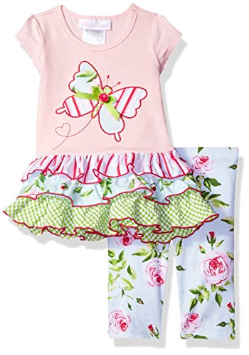 Bonnie Baby Baby Girl's Appliqued Dress and Legging Set, Pink Butterfly, 3-6 Months ()