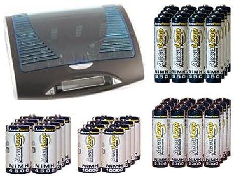 Amazon.com: Super Universal LCD Cargador de batería + 16 AA ...