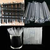 Individually Wrapped,100 Pack 7 Inch Long - Black or White Colored Drinking Straws for Boba Bubble Tea, Milkshakes, Slushies Party Straws,Healthy Drinks