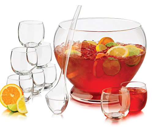 Punch Bowl And Ladle - Libbey 56198 10 Piece Punch Bowl, Clear