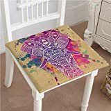 Mikihome Outdoor Chair Cushion Style Effect Theme an Ornamented Fuchsia and Sand Brown Comfortable, Indoor, Dining Living Room, Kitchen, Office, Den, Washable 22''x22''x2pcs