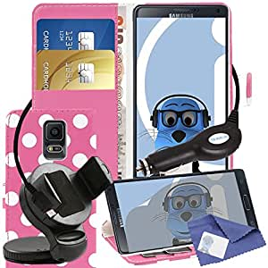 iTALKonline Samsung Galaxy Note 4 SM-N910V Pink White Polka Dots PU Leather Executive Multi-Function Wallet Case Cover Organiser Flip with Credit / Business Card Money Holder Integrated Horizontal Viewing Stand, 3 Layer LCD Screen Protector, 360 Degrees Rotating Case Compatible In Car Windscreen Suction Mount Holder and 1000 mAh Coiled In Car Charger LED Indicator and Overload Protection