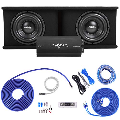 """Skar Audio Dual 10"""" Complete 2,400 Watt SDR Series Subwoofer Bass Package - Includes Loaded Enclosure with Amplifier"""