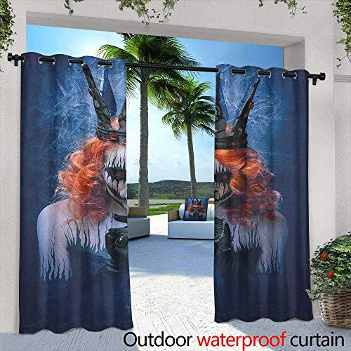 Marilds Queen Living Room/Bedroom Window Curtains Queen of Death Scary Body Art Halloween Evil Face Bizarre Make Up Zombie Simple Stylish 84