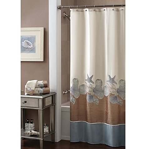 Croscill Shells Ashore 70-Inch x 72-Inch Shower Curtain Tossed Shells -
