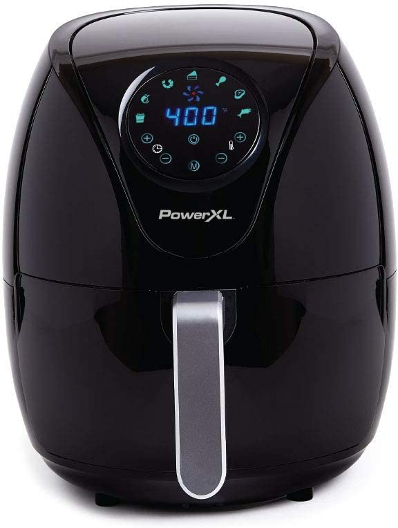 PowerXL Air Fryer 7 QT Maxx, Special Edition 2021, Extra Hot Air Fry, Cook, Crisp, Broil, Roast, Bake,, High Gloss Finish, Black (7 Quart) (Renewed)