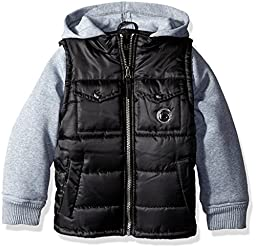 iXtreme Little Boys\' Toddler Ripstop Puffer with Fleece Hood, Black, 4T