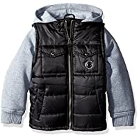 iXtreme Baby Boys' Ripstop Puffer with Fleece Hood, Black, 18 Months