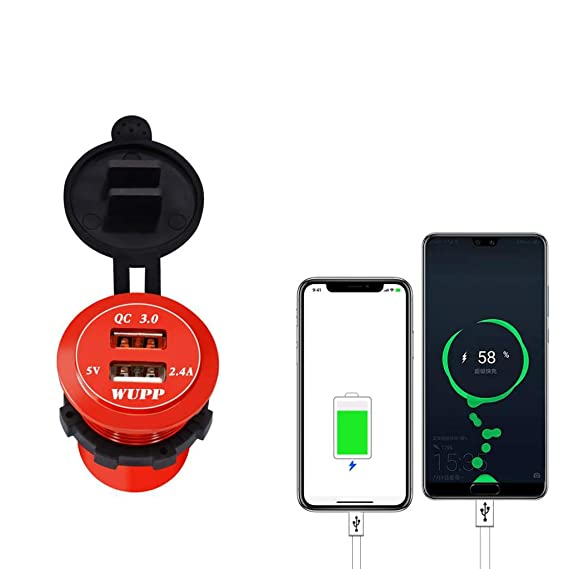 B Blesiya Quick Charge 3.0 Dual USB Charger Socket Waterproof Aluminum Power Outlet with LED Light for 12V//24V Car Boat Marine ATV Bus Truck White
