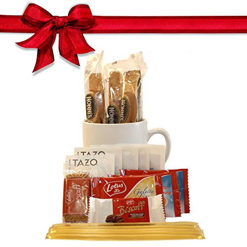 Tazo Tea Gift Set Featuring: Large Bistro Style Mug, Nonni's Biscotti, Biscoff Cookies, & Original Honey Stix