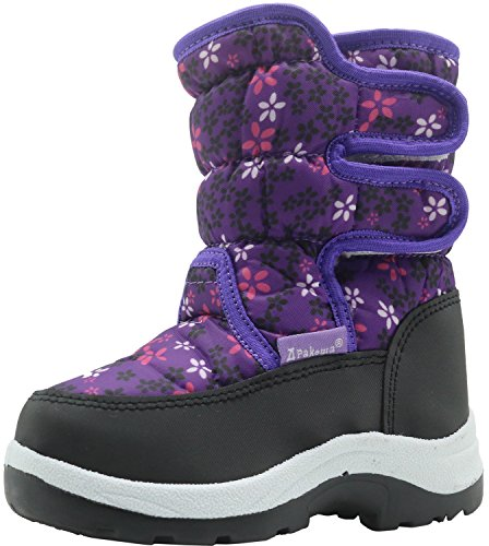 Apakowa Kid's Cold Weather Snow Boots (Toddler/Little Kid) ( Color : Purple , Size : 8.5 M US Toddler )