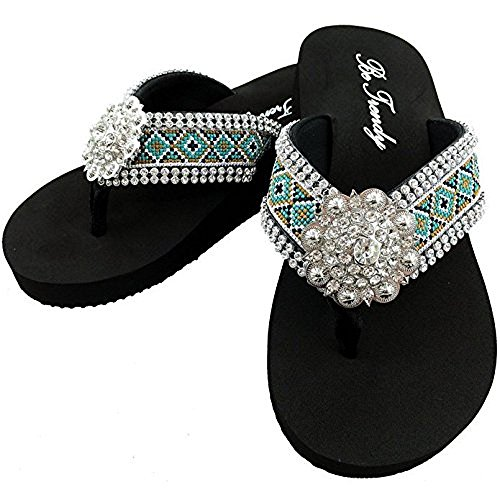 Western Peak Women's Aztec Design Full Rhinestones Round Concho Diamond Black Brown Turquoise Flip Flop Sandals (M (7-8))