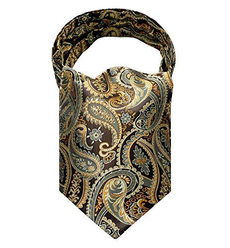 (HISDERN Men's Paisley Jacquard Woven Self Cravat Tie Ascot Gold/Brown)
