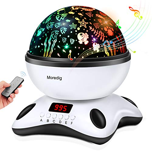 - Music Light Projection lamp Remote Control and Timer Design, Built-in 12 Light Songs 360 Degree Rotating 8 Colorful Lights Romantic Room Children Kids Gift for Birthday,Parties,Bedroom (Black White)