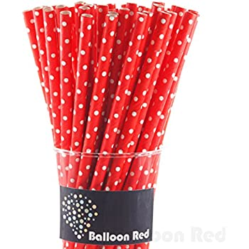 Biodegradable Paper Drinking Straws (Premium Quality), Pack of 100, Polka Dot - Red / White