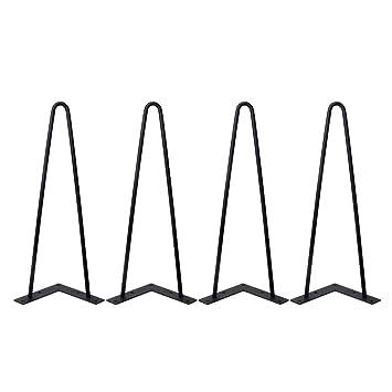 GroBartig Locisne 4 X Schwerlaste Haarnadel Tischbeine Überlegener Schweißen  Schwarzer Gußstahl 9mm 2 Stangen 16 Zoll