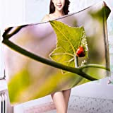 AmaPark Microfiber Towels Ladybugs on The Green Leaves Multipurpose, Quick Drying L55.1 x W27.5 INCH