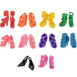 Clothes for Doll, 10 Pieces Party Gown Outfits with 10 Pairs Doll Shoes, Girls Birthday Present (A)