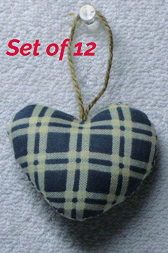 Fabric Hearts, Quilted Stuffed Hearts, fabric heart ornament Set of 12, Heart Size:2.5