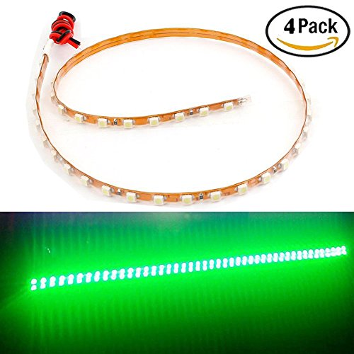 EverBright 4-Pack Green 45CM 1210 45-SMD DC 12V Waterproof Flexible LED Strip Light For Under Car Interior Atmosphere Decoration Light Vehicle DRL Day Running Light (You Need 3M Tape)