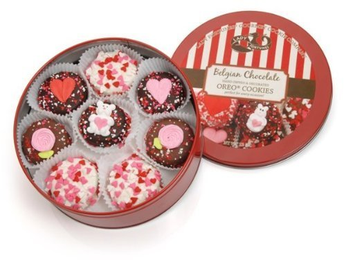 Valentine Tin of 16 Belgian Chocolate Dipped & Decorated Oreos® by Lady (16 Belgian Chocolate)