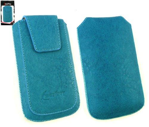 Emartbuy® Samsung Galaxy Ace 3 S7270 Classic Range Azul De Lujo Del Cuero De La Pu Slide En La Bolsa / Caja / Carcasa / Manga / Titular (Tamaño Xl) Con Magnético De La Aleta & Pull Tab Mecanismo Y Pro