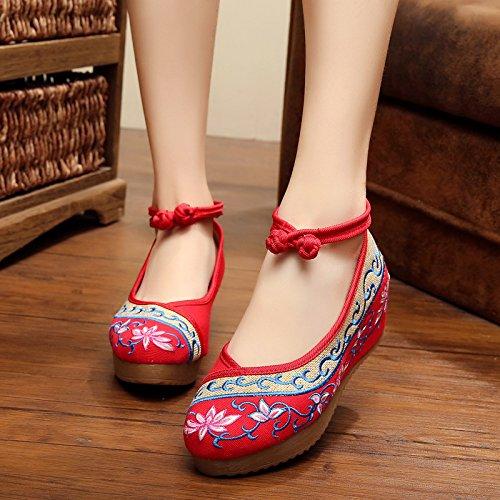 Del Femeninos Cómodo Ocasional Red Manera Tendón Étnico Bordados Zapatos Zq Aumentados Estilo Lino Lenguado Hq8IRFw
