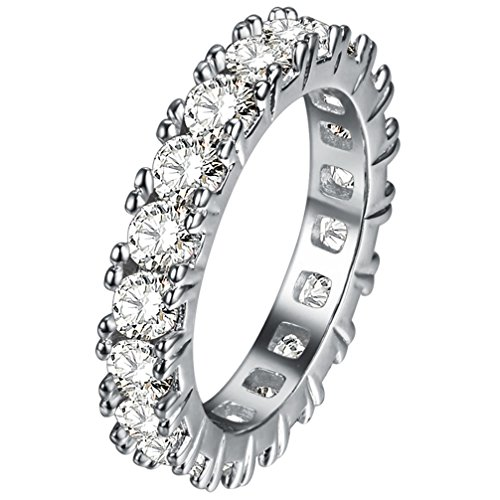 FENDINA Womens Silver Plated Pretty CZ Crystal Promise Engagement Wedding Bands Bridal Eternity Anniversary Rings for Her Valentin's Day (Artcarved Wedding Bands Eternity Ring)