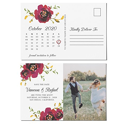 "Stunning Save the Date Postcards for Weddings with Photo | Wedding Announcement, Marriage Calendar - Personalized, Customizable Cardstock- 4"" x 6"", set of 40"