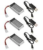 HobbyFlip Traxxas QR-1 3.7v 380mAh 25c LiPo 3 x Batteries 3 x Charger Quadcopter Battery Combo Power Cells
