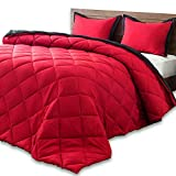 downluxe Lightweight Solid Comforter Set (Queen) with 2 Pillow Shams - 3-Piece Set - Red and Black - Down Alternative Reversible Comforter