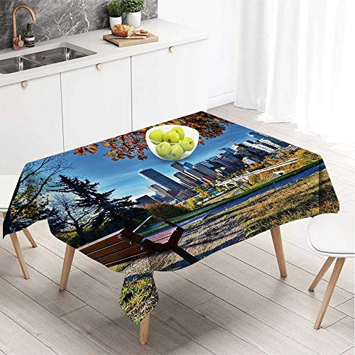 YOLIYANA City Useful Square Tablecloth,Park Bench Overlooking The Skyline of Calgary Alberta During Autumn Tranquil Urban for Dining Room,70