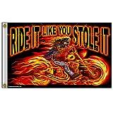 Hot Leathers (FGA1026; 3'x5′)  Multicolor  Street Rider Skull Flag