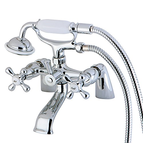 (Nuvo ES2671X Elements of Design Charleston Deck Mount Claw Foot Tub Filler with Hand Shower, 6-1/2