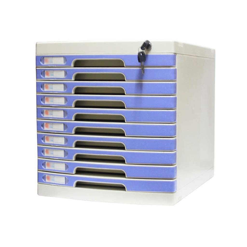 Flat File Cabinet, Drawer Organizer Large 5-Layers Lockable with Blank Label Environmentally Friendly Plastic (Size : 10-Layers)