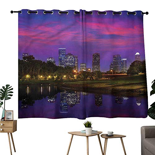 (Jaydevn Print Darkening Curtains Grommet Curtain Kitchen USA,Houston Texas Memorial Park Curtains/Panels/Drapes W72 x)