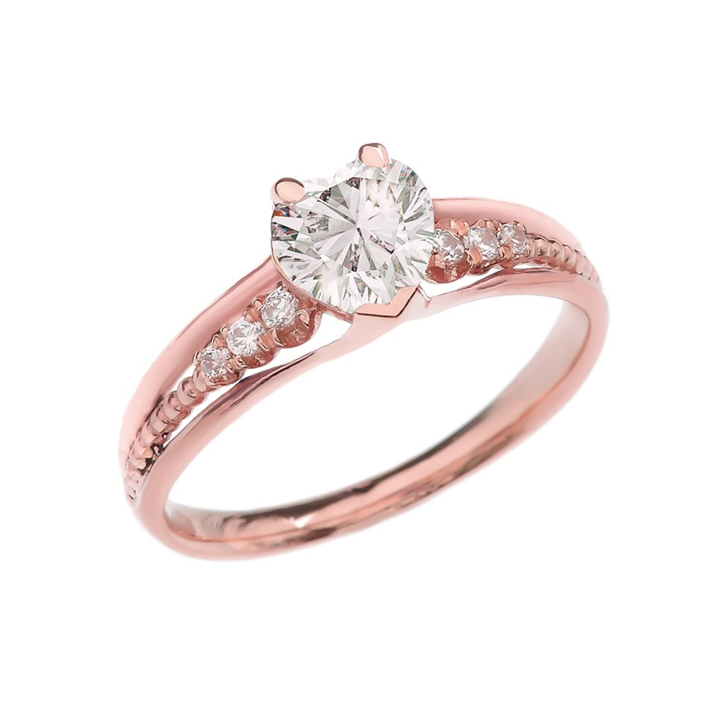 Dazzling 10k Rose Gold Diamond And April Birthstone Heart Beaded Promise Ring (Size 7.5) by Dainty and Elegant Gold Rings