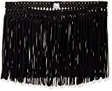 PilyQ Women's Cover-up Fringe Skirt, Black/Gold, Medium/Large