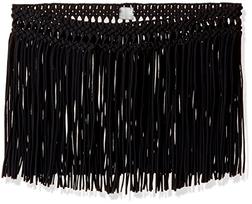 PilyQ Women's Cover-Up Fringe Skirt, Black/Gold, X-Small/Small