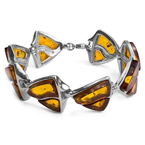 - Sterling Silver Amber Large Shield Bracelet 7.5