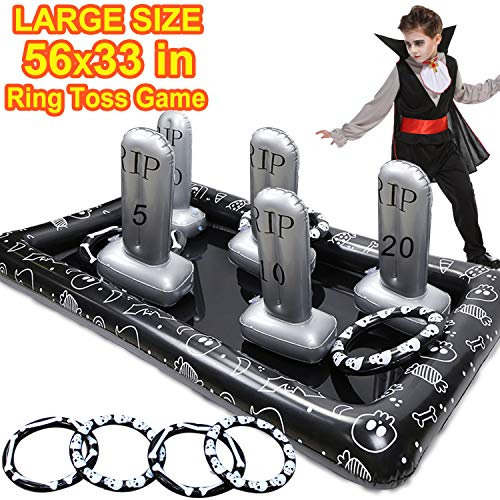 Outdoor Party Games For Halloween (Halloween Party Game for Kids Large Size Inflatable Tombstone Headstone Ring Toss Game Halloween Yard Outdoor Party Game  Decoration School Party)