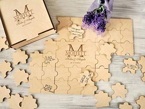 (Alternative Wedding Guest Book 20-236 pieces Wood Monogram Guestbook Wedding Puzzles Guestbook Sign Custom Guest Book Unique Guestbook Wedding Gift Ideas)